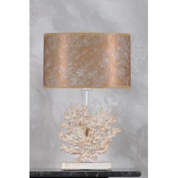 qdec Modern Dizayn Mercan Abajur Beyaz Gold