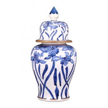 qdec Bleu Blanc Şah Vazo Çiçek Yaldız
