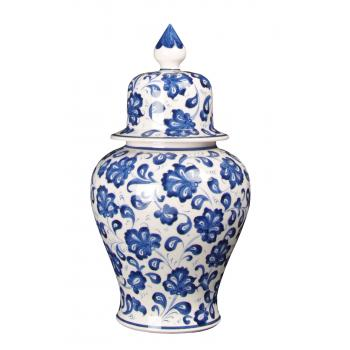 qdec Bleu Blanc Şah Vazo Lotus