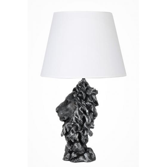 qdec Modern Dizayn Büyük Aslan Abajur Gümüş Beyaz
