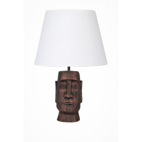 qdec Modern Dizayn Moai Abajur Bakır Beyaz