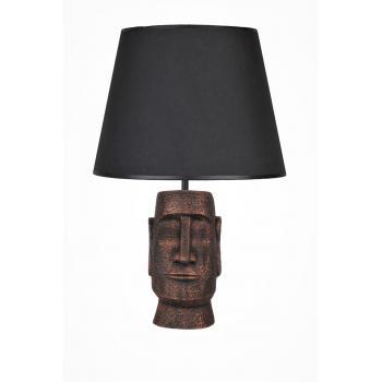 qdec Modern Dizayn Moai Abajur Bakır Siyah