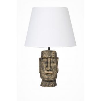 qdec Modern Dizayn Moai Abajur Gold Beyaz