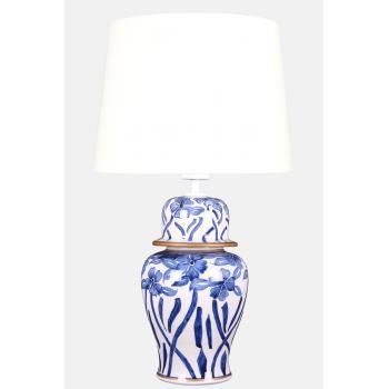 qdec Bleu Blanc Şah Vazo Abajur Çiçekli Yaldız Beyaz