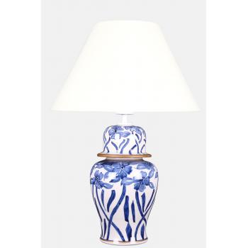 qdec Bleu Blanc Şah Vazo Abajur Çiçekli Yaldız K.Beyaz