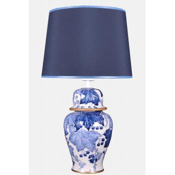 qdec Bleu Blanc Şah Vazo Abajur Yaprak Kabarık Mavi