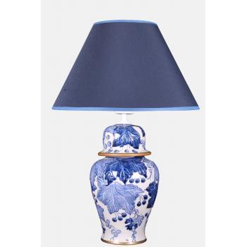 qdec Bleu Blanc Şah Vazo Abajur Yaprak Kabarık K.Mavi