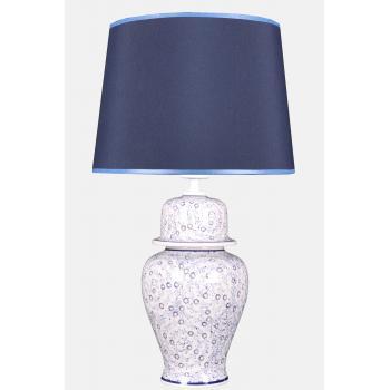 qdec Bleu Blanc Şah Vazo Abajur Seyrek Halıç Mavi